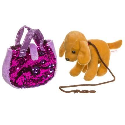 Собачка в сумке с пайетками Bondibon Милота. Лабрадор c ошейником и поводком, 19 см