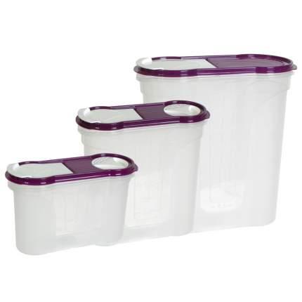 Набор банок для сыпучих продуктов, 1,3 + 2,2 + 4,0 л 11175