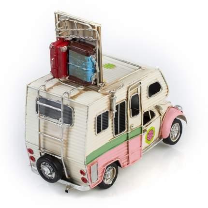 Модель Ретро Автомобиль Platinum белый с розовым фургон, с фоторамкой 1404E-4346