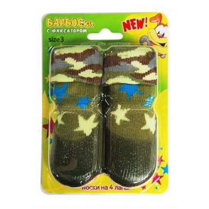 Носки для собак БАРБОСки размер M, 4 шт зеленый