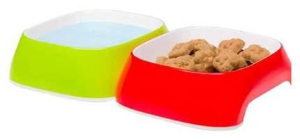 Набор мисок для кошек и собак Ferplast, пластик, резина, красный, зеленый, 2 шт по 0.4 л