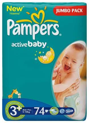 Подгузники Pampers Active Baby 3+ (5-10 кг), 74 шт.