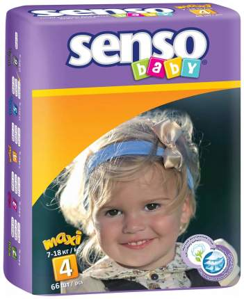 Подгузники Senso Baby Maxi 4 (7-18 кг), 66 шт.