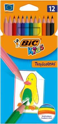 Карандаши цветные Bic Tropicolors. 12 цветов.