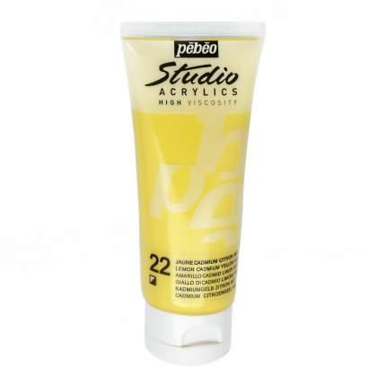 Акриловая краска Pebeo Studio Acrylics 831-022 кадмий лимонный 100 мл