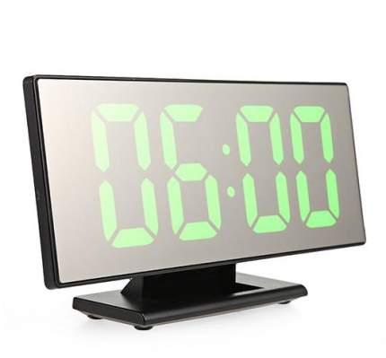 Настольные зеркальные часы DS-3618L (черный корпус, зеленые цифры)
