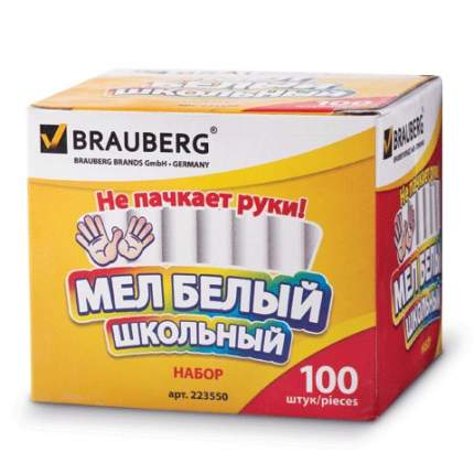 Мел белый Brauberg 223550 антипыль набор 100 шт. круглый