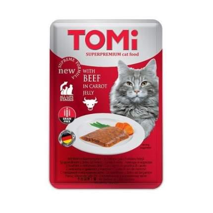 Влажный корм для кошек Tomi, c говядиной в морковном желе, 100г