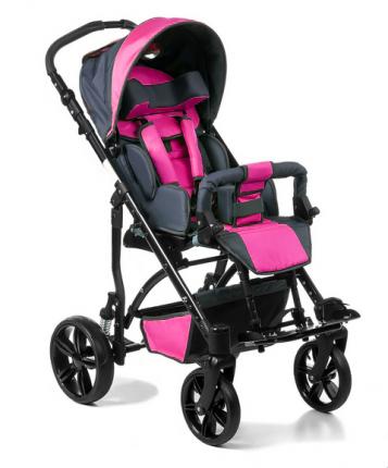 Кресло-коляска Meyra Junior для детей ДЦП розовый-серый пневматические