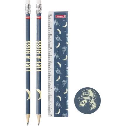 Brunnen Набор для письма Brunnen Boss, 2 карандаша с ластиком, 1 ластик, 1 линейка 15 см