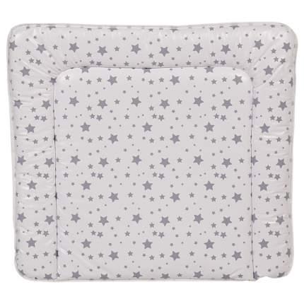 Доска пеленальная Polini kids Звезды мягкая на комод, 77x72см, белый-серый