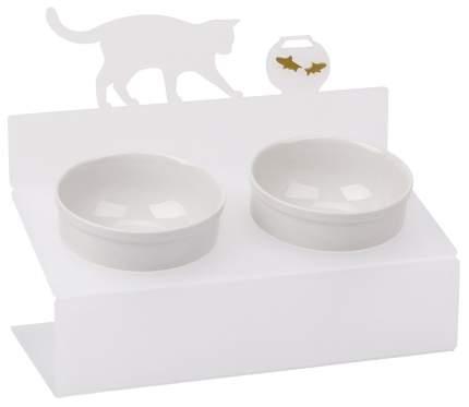 Двойная миска для кошек Artmiska, керамика, пластик, белый, 2 шт по 0.35 л