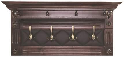 Вешалка-полка настенная Мебелик Сильвия Н5 Экокожа Темно-коричневый
