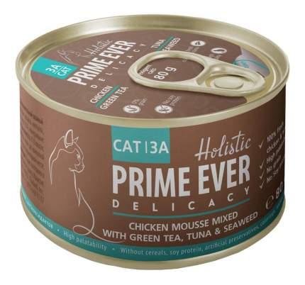 Консервы для кошек Prime Ever 3А, мусс с цыпленком, тунцом и зеленым чаем, 80г