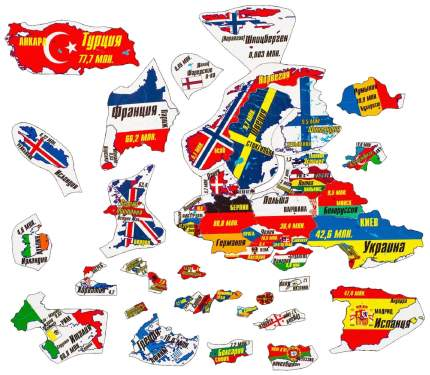 Пазл Геомагнит Магнитный Играй и учись - Европа, 44 элемента