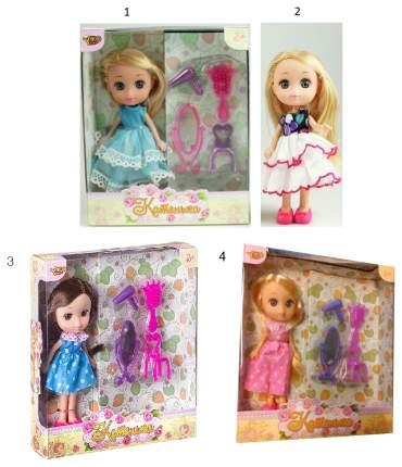 Кукла Yako Toys Катенька в розовом платье, с аксессуарами 16,5 см