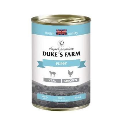 Консервы для щенков DUKE'S FARM, курица, телятина, 400г