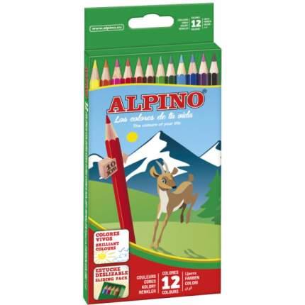 Карандаши Alpino цветные шестигранные 12 цветов