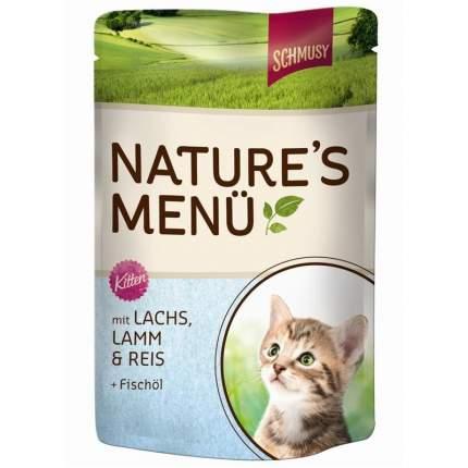 Влажный корм для котят, для беременных и кормящих кошек Schmusy, лосось, ягненок, 100г