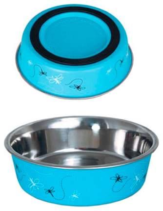 Миска для домашних животных Triol BL-04 Стрекоза, нержавеющая сталь, голубая, 250 мл