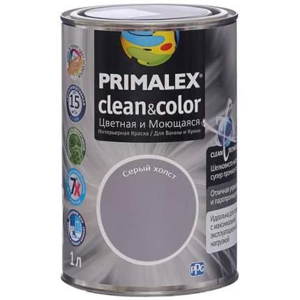 Краска для внутренних работ Primalex Clean&Color 1л Серый Холст, 420206