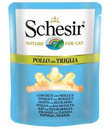 Влажный корм для кошек Schesir, курица и кефаль, 70г