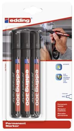 edding Перманентный маркер, круглый наконечник, 1,5-3 мм, 3 штуки одного цвета, блистер