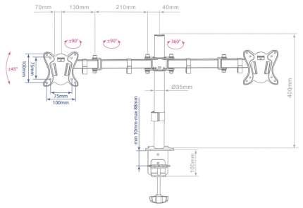 Кронштейн для монитора ARM MEDIA LCD-T13 Black