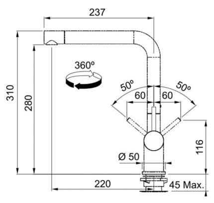 Смеситель для кухонной мойки Franke Active Plus 115.0373.790 хром