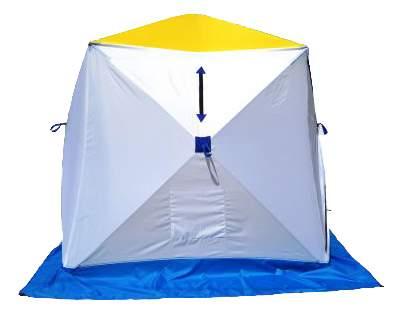 Палатка Стэк Куб трехместная белая/желтая/синяя