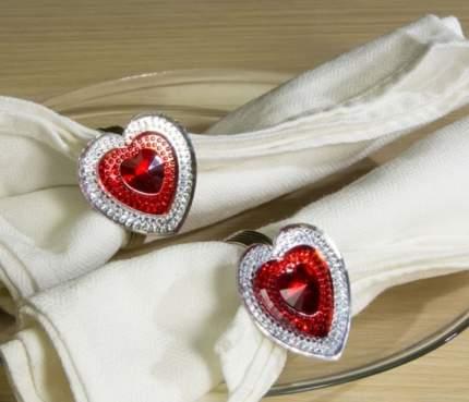 Кольцо для салфетки Красный Агат - сердце 4 шт, 4 см 9520619