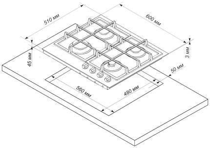 Встраиваемая варочная панель газовая DeLuxe TG4 750231 F - 079 Black