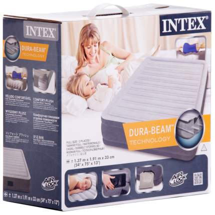 Надувная кровать Intex Comfort-Plush 67768 137х191х33 см встроенный насос 220V