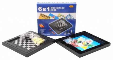 Игра настольная магнитная 6в1 (шахматы, шашки, нарды, лудо, змейка, ские шашки)