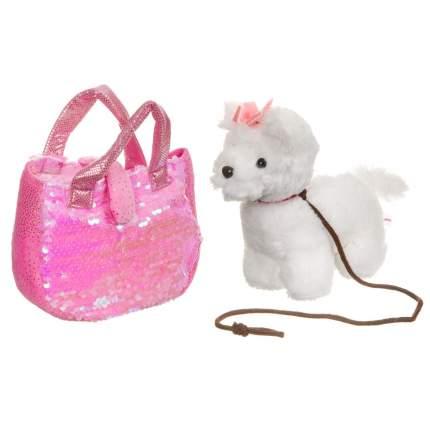 Собачка в сумке с пайетками Bondibon Милота. Болонка c ошейником и поводком, 19 см