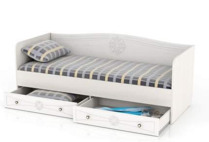 Кровать с ящиками Мебельный Двор Онега 800 белый 204х84х80, сп. м. 800х2000 мм.