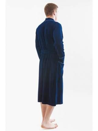 Мужской велюровый халат LikaDress синий 813, р.60