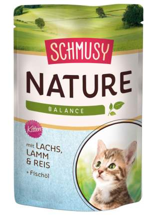 Влажный корм для котят Schmusy Nature's Menu, с ягненком и лососем, 100г