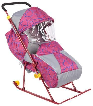 Санки-коляска Galaxy Снежинка Премиум, красные
