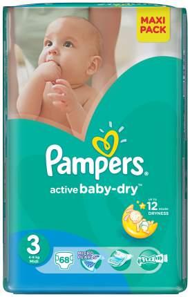Подгузники Pampers Active Baby-Dry Midi 3 (4-9 кг), 68 шт.