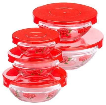 Набор салатниц Loraine 26867-1 Прозрачный, красный