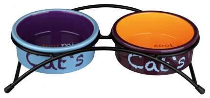 Двойная миска для кошек и собак TRIXIE, керамика, разноцветный, 2 шт по 0.3 л