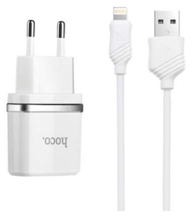 Сетевое зарядное устройство Hoco C12, 2xUSB, lightning, 2,4 A, white