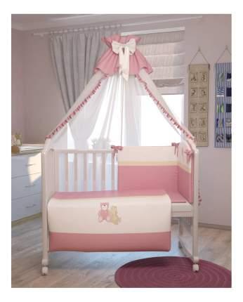 """Комплект в кроватку Polini """"Плюшевые мишки"""" 7 пред,, розовый 120*60"""