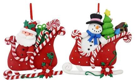 Елочная игрушка Crystal Deco Санта в санях MA7968A/B 10 см 1 шт.
