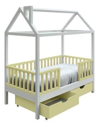 Кровать-домик Трурум KidS Сказка узкий бортик, ящики оливково-белая