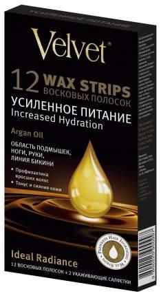Восковые полоски Velvet для тела Argan oil Усиленное питание 12 шт