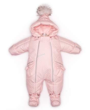 Комбинезон-трансформер конверт Malek-Baby с помпоном бант светло-розовый стежка