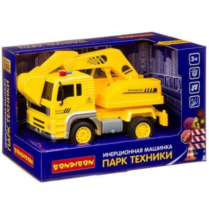 Инерционная машинка Bondibon «ПАРК ТЕХНИКИ», экскаватор, свет, звук BOX 24х12х15,5