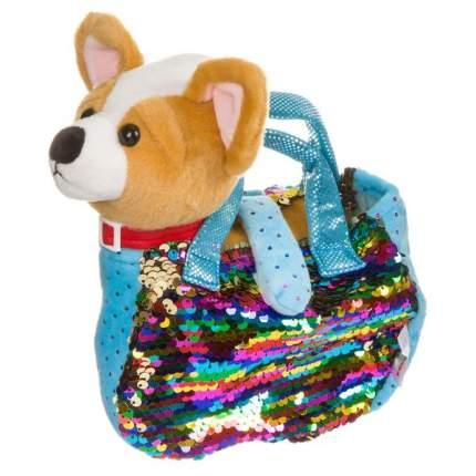 Собачка в сумке с пайетками Bondibon Милота. Чихуахуа c ошейником и поводком, 19 см